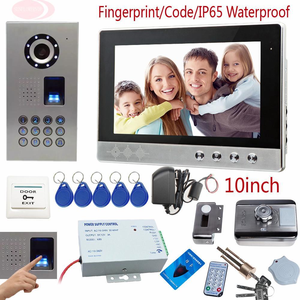 Fingerprint Door Phone 10inch Color Screen Interphone Phone
