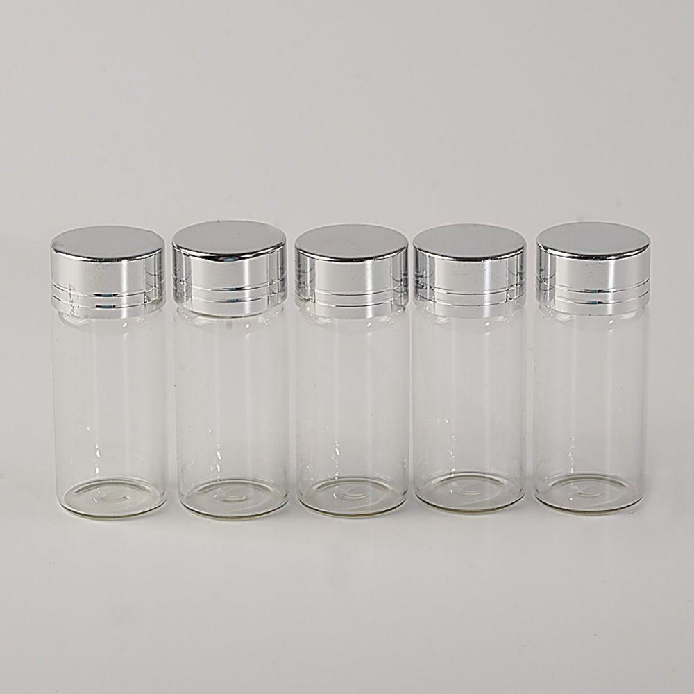 1f3fc0d09669 Wholesale- 10ml Glass Bottles Screw Cap Silver Aluminium Lid Empty Glass  Jars Vials Bottles Sealing up Mason Jars 10ml 100pcs