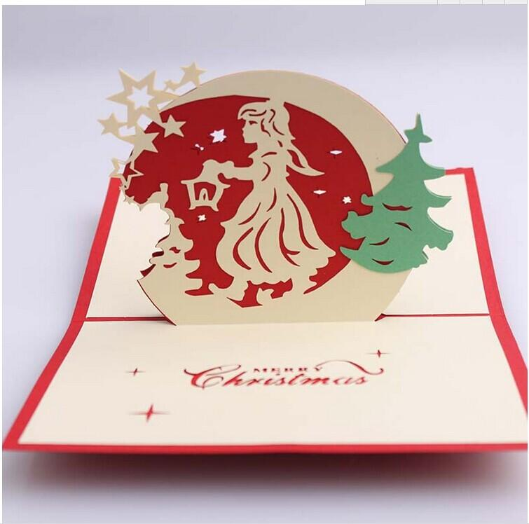 3d pop up christmas tree card dhl ship 3d diy christmas card blessing cards greeting cards for m4hsunfo