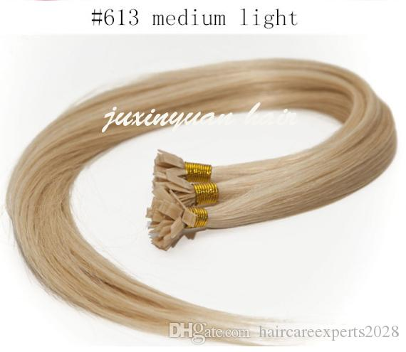 "7A 16"" -24"" flat Tip Hair Extension Indian remy Hair 1g/s 100g/pack #1 #1B #2 #4 #6 #99j #613 #24 #27 Keratin Hair Extension Human Hair"