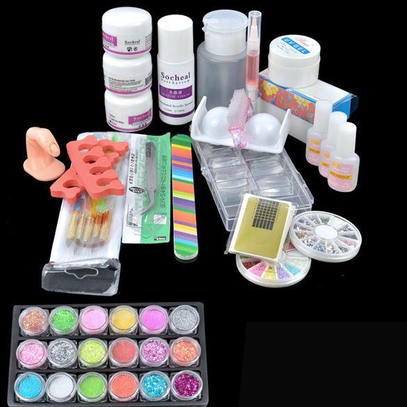 Acrylic Nail Kits Cheap: Wholesale-Acrylic Powder Liquid Primer UV Nail Art Kit Tip