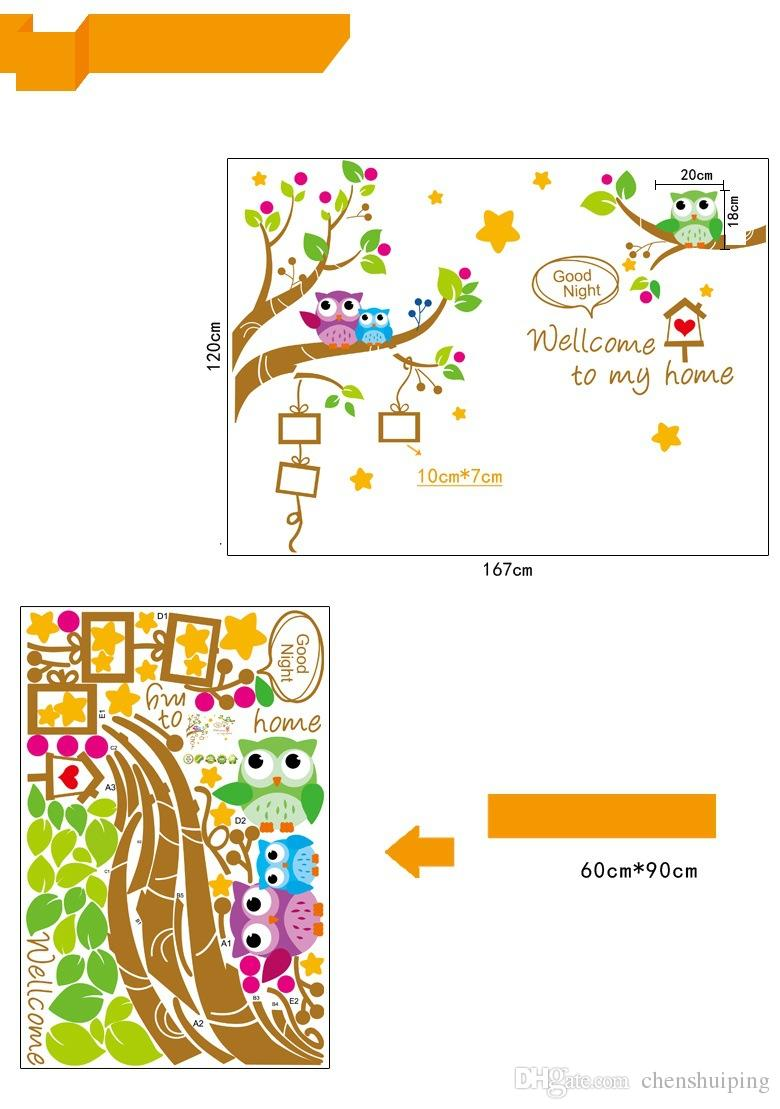 owls Photo Frame in the Tree DIY Wall sticker Home Decor Cartoon Nursery Wall Decals stickers