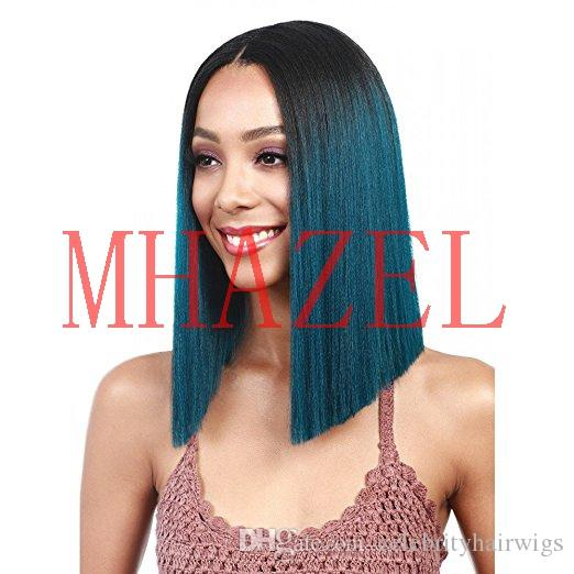 short bob straight ombre 1b#/peacock blue middle part synthetic lace front wig glueless 14inch for woman