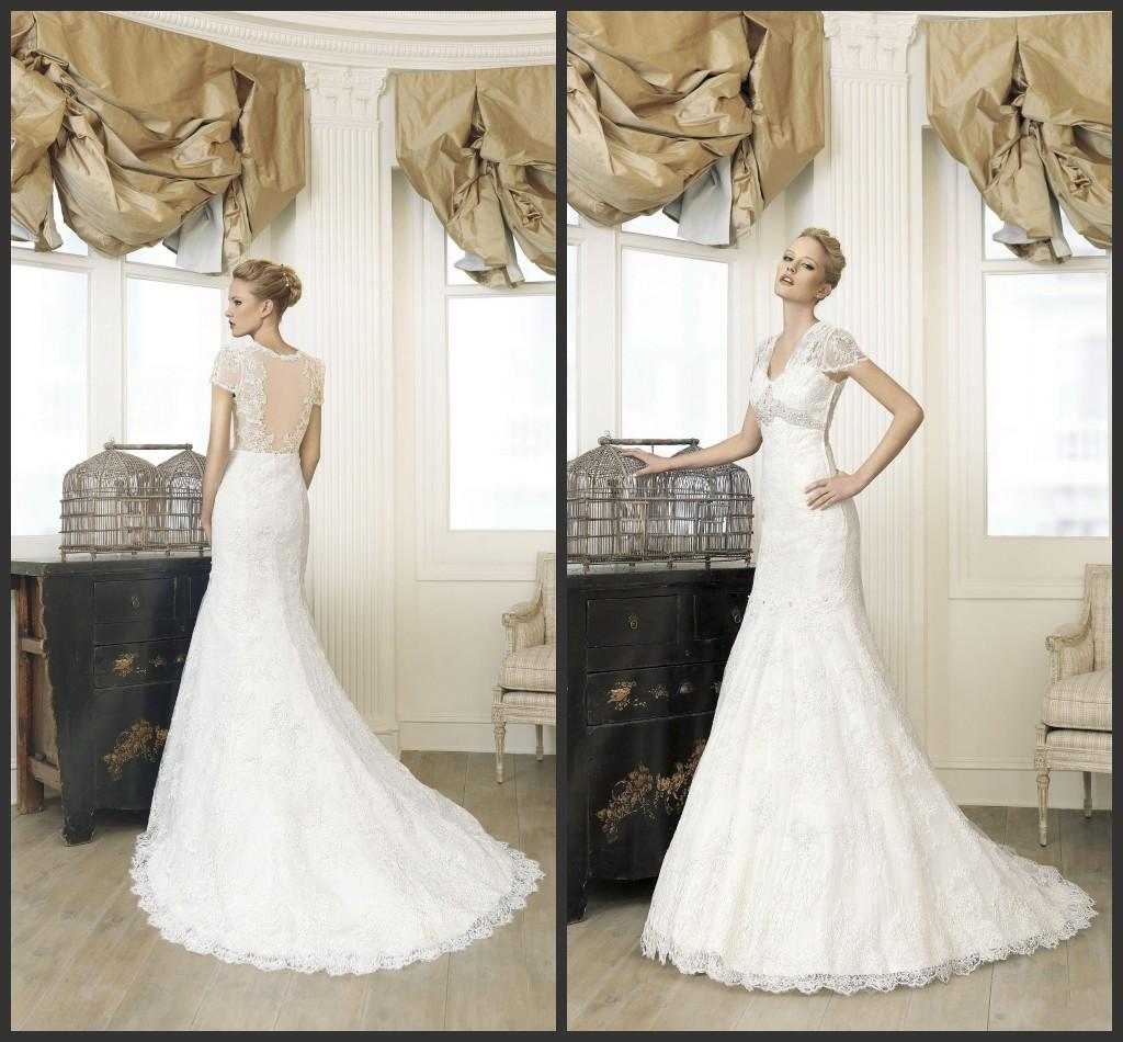 New Fashion 2015 Spanish Lace Wedding Dresses With Short Sleeve ...