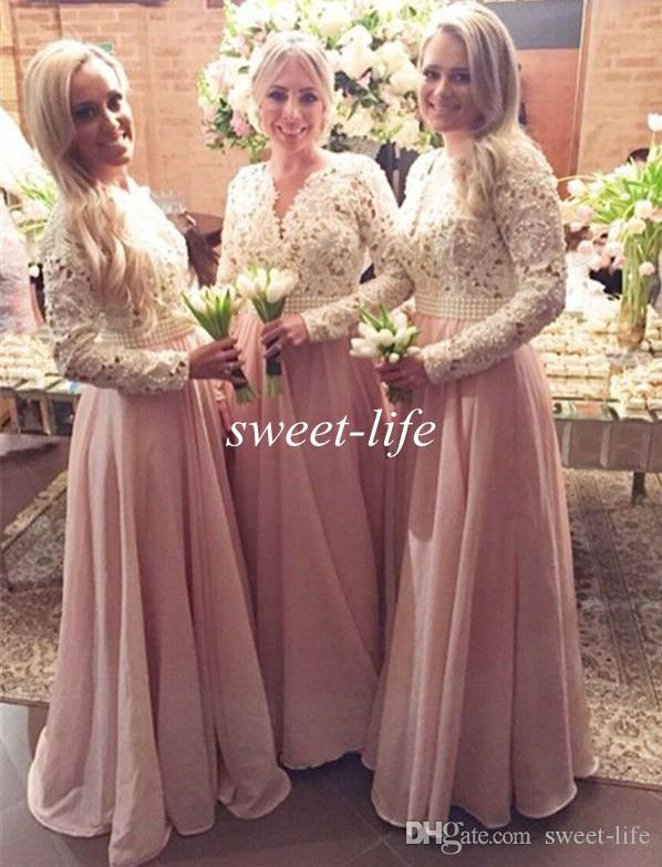 Blush Long Sleeves Bridesmaid Dresses Cream Lace Chiffon Pearls 2019 Cheap  Vintage Maid of Honor Dress Plus Size Muslim Formal Evening Gowns