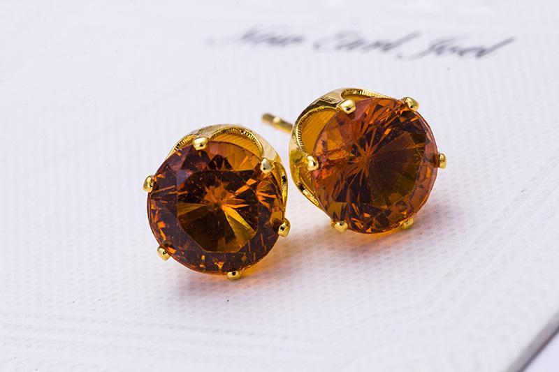 أقراط الأزياء بالجملة جولة تصميم مفضل 18 K مطلية بالذهب رصع حلوى بلورات تشيكوسلوفاكيا الماس عشيق القرط للنساء