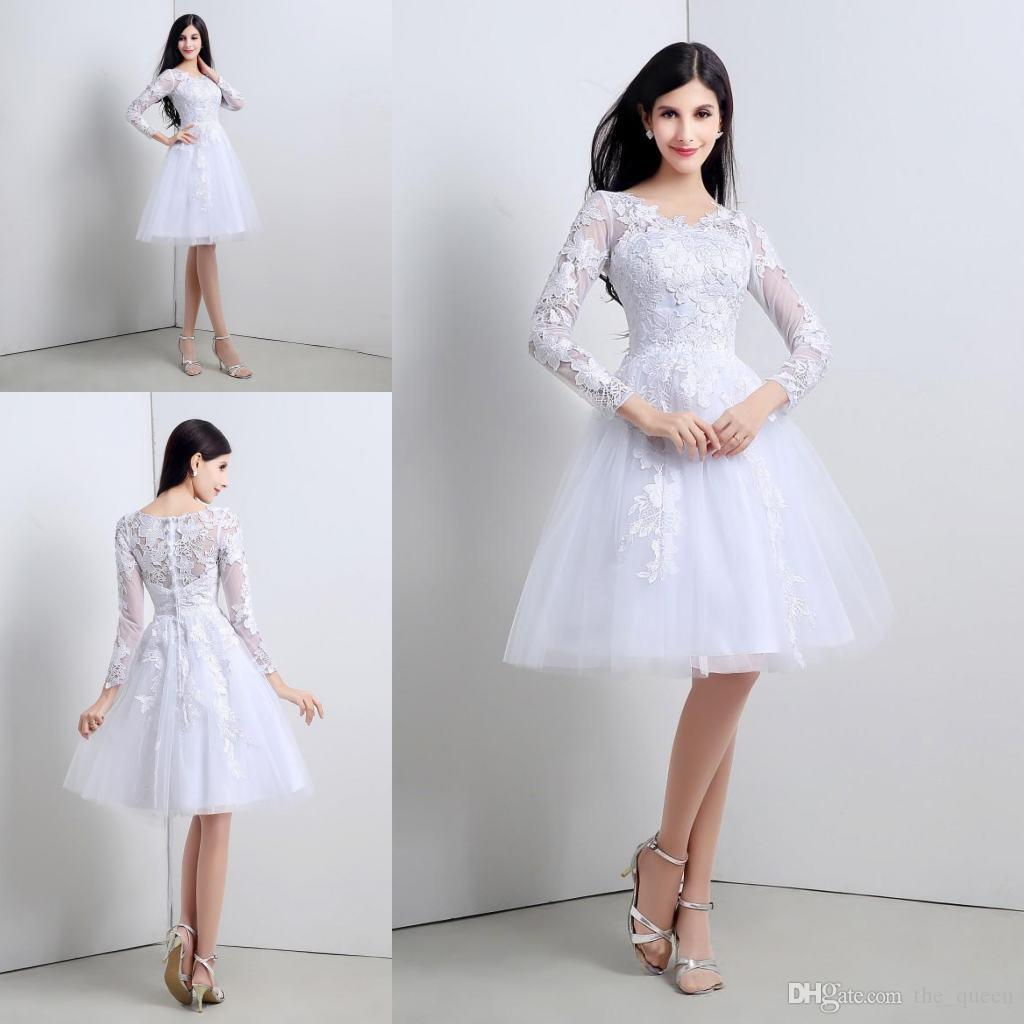Discount 2015 Short Little White Lace 3/4 Long Sleeves Wedding ...