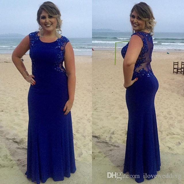 Royal Blue Mermaid Mother Bride Dresses Scoop Neck Applique Full