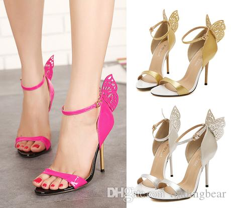 e70eed28f78b Butterfly Pink Wedding Shoes High Heel Summer Sandals One Strap Ladies  Sandals Size 35 To 40 Mens Leather Boots Mens Shoes Online From  Tradingbear
