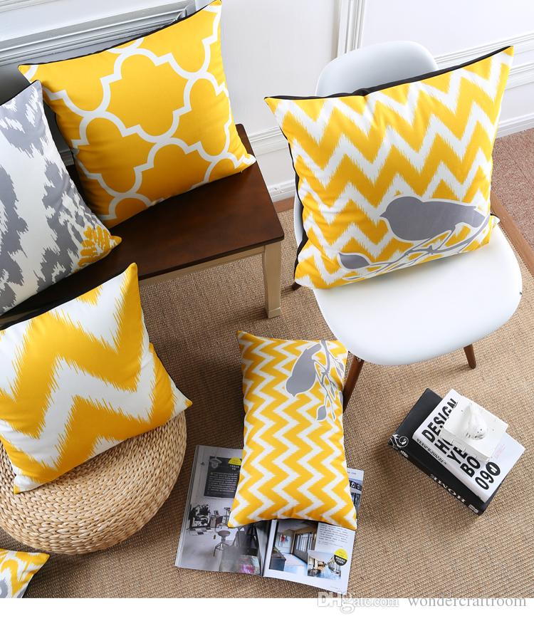Warm Yellow Cushion Cover Geometric Chevron Stripes Plaid Morocco Tile Pattern Velvet Cushion Covers Bird Tree Flower Pillow Case For Sofa