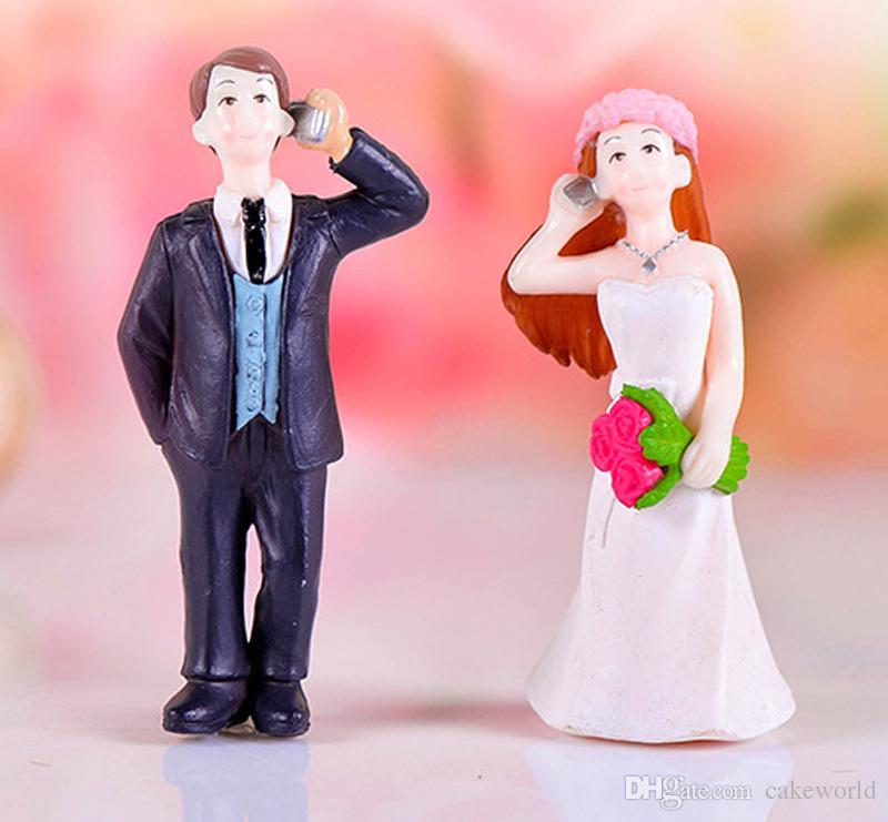 4 pz matrimonio Telefono coppia ornamento Fairy Garden Miniature Craft Terrarium Figurine Baison Strumento Dollhouse Decor Accessori la casa