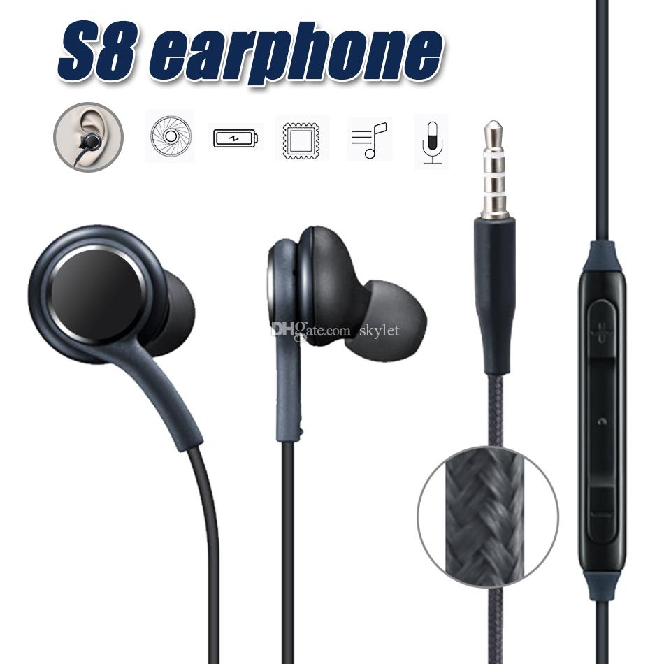 لسامسونج غالاكسي s8 s8 زائد في الأذن سلكية سماعة ستيريو الصوت سماعات التحكم بحجم الصوت ل s6 s7 ملاحظة 8 سماعة مع حزمة البيع بالتجزئة