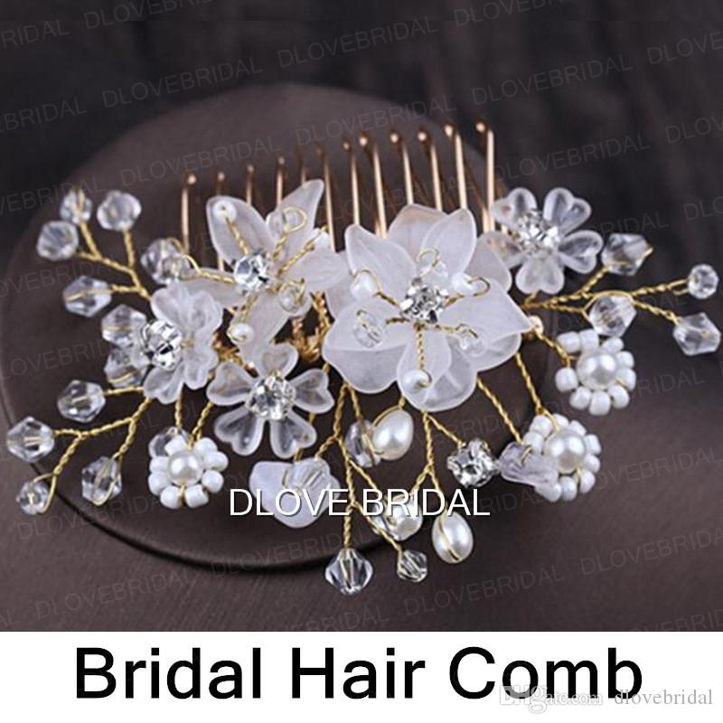 Hot Sell Fairy Floral Bridal Hair Comb Clear Crystal Handmade Wedding Party Prom Hair Decorations Jewelry Accessory Headpiece Hairflower