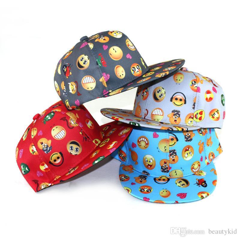 1a80396685c6 Children Cap Boys Girls Emoji Print Baseball Hat Snapback Adjustable Hip  Hop Cap Cute Emoji Hats EMJ024 Wholesale Hats Caps Online From Beautykid