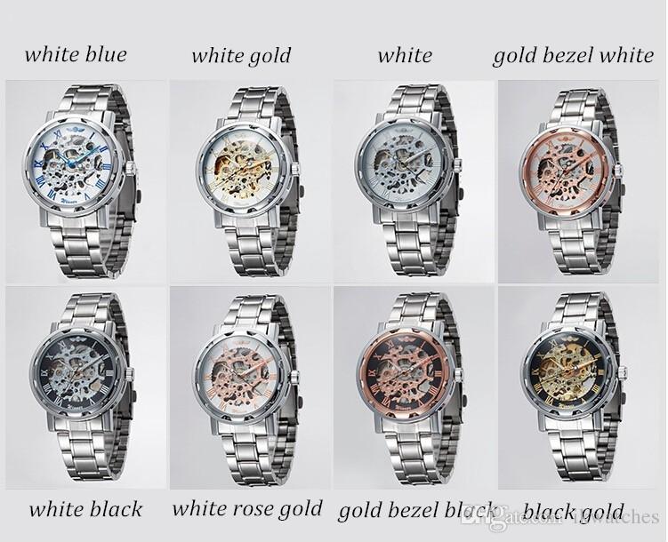 Бесплатная доставка 2015 Новый прибыть победитель скелет часы для мужчин автоматические часы WN03