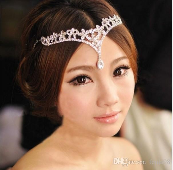 Accessoires de mariage Cristal Cheveux porter Mariée Fleur Bandeau Bridal Accessoires de Cheveux En Gros Collier cheveux ornements /