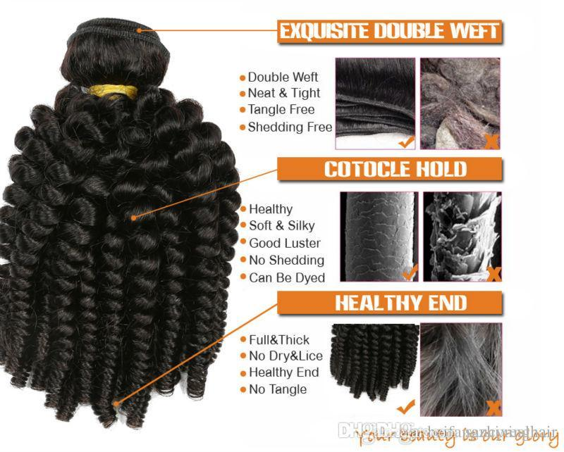 Brazilian Human Hair Weaves Aunty Funmi Tight Kinky Curly Unprocessed Virgin Human Hair Extensions Funmi Hair Natural Black Color