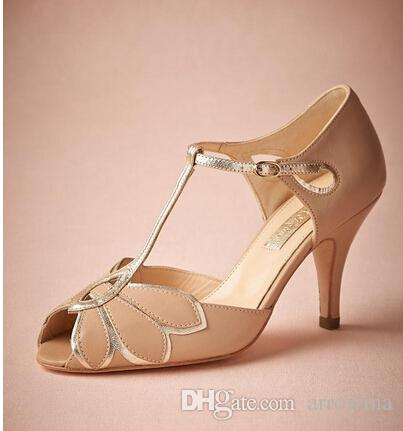 "2015 Vintage Blush Wedding Shoes Gold Silver Ivory Mint Buckle Closure Leather Party Dance 3"" High Heels Women Sandals Short Wedding Boots"