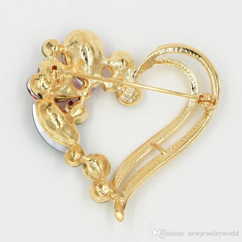 Высокое Качество Свадебные Золотой Тон Сердце Булавки Брошь Потрясающие Кристаллы Женщины Брошь Дешевые Оптовая Завод Брошь Бесплатная Доставка