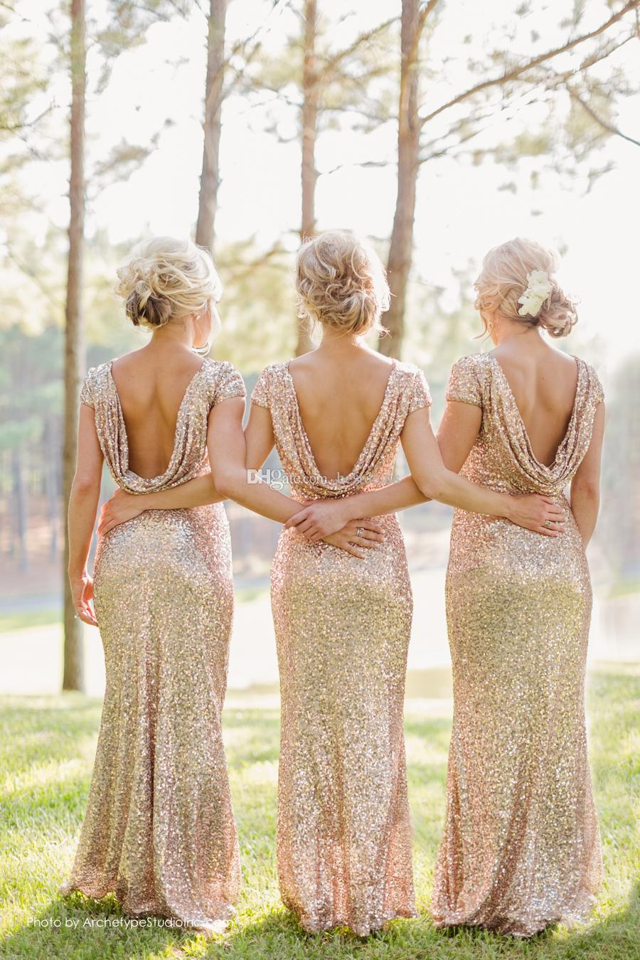 Sparkly Rose Gold Cheap 2015 Mermaid Bridesmaid Dresses 2016 Short Sleeve Sequins Backless Long Beach Wedding Party Gowns Gold Champagne