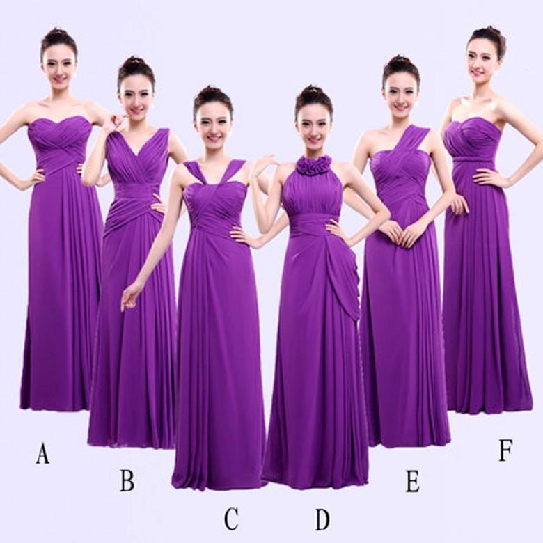 Different Styles Long Bridesmaid Dresses For Cheap Chiffon Purple ...