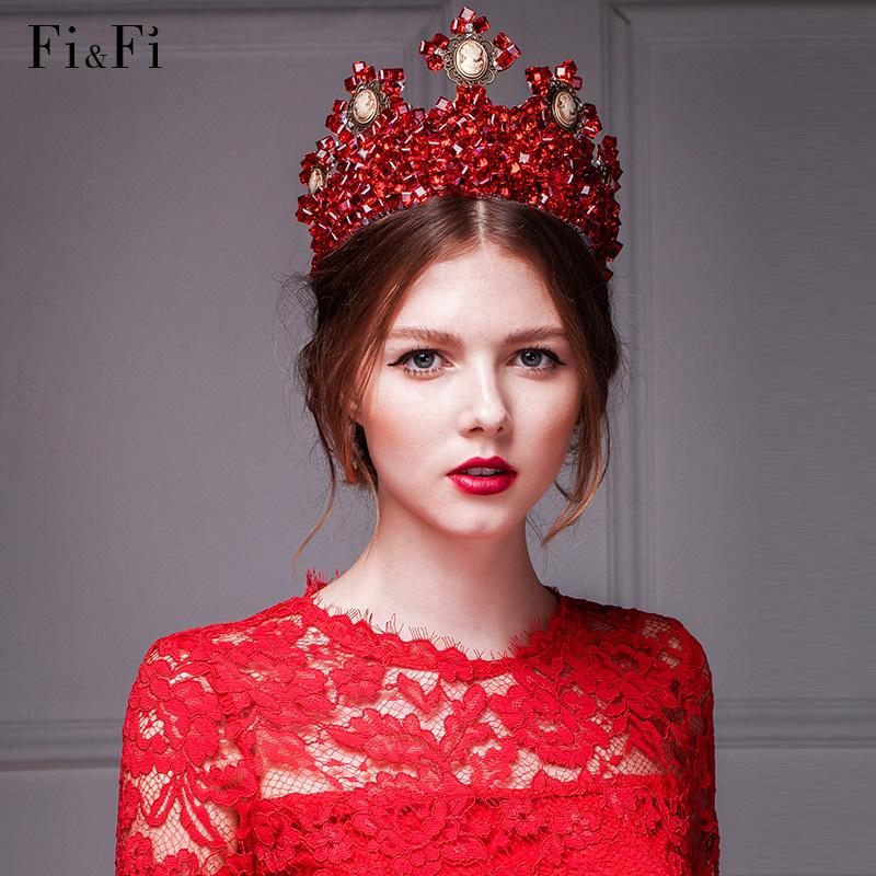 2015 Cheap Red Large Size Ancient Court Tiaras Hair Accessorie Crown Wedding King Jewelry Bride Pieces Crystal Bridal Combs