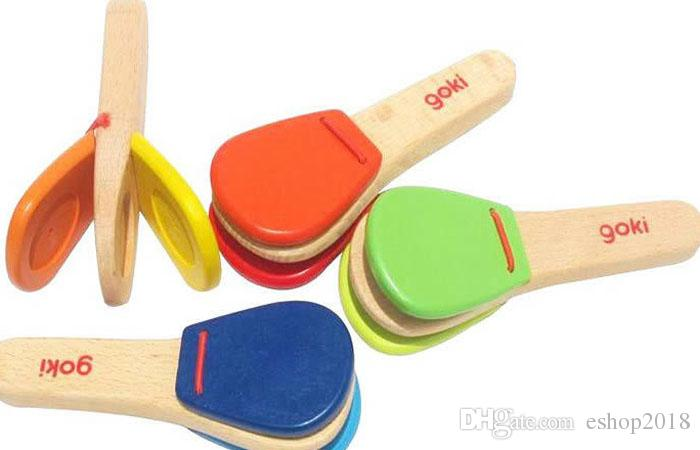 2015 new Baby Toy wooden handle castanet/child musical instrument/orff knock instrument toy