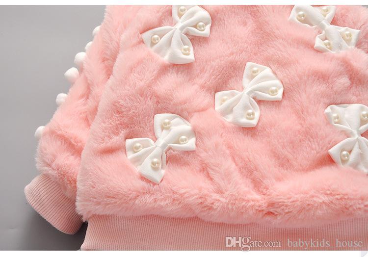Inverno caldo Bambini Bambini Neonate Infantili Addensare Velluto Faux Fur Bow Pullover Maglione Top + Pant Legging Set di abbigliamento
