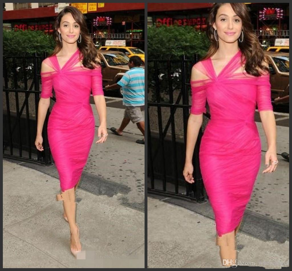 gaine sexy genou longueur robes de cocktail en tulle 2019 plis Criss Cross Sheer court Party robes de bal formelle Robes femme Robes femme