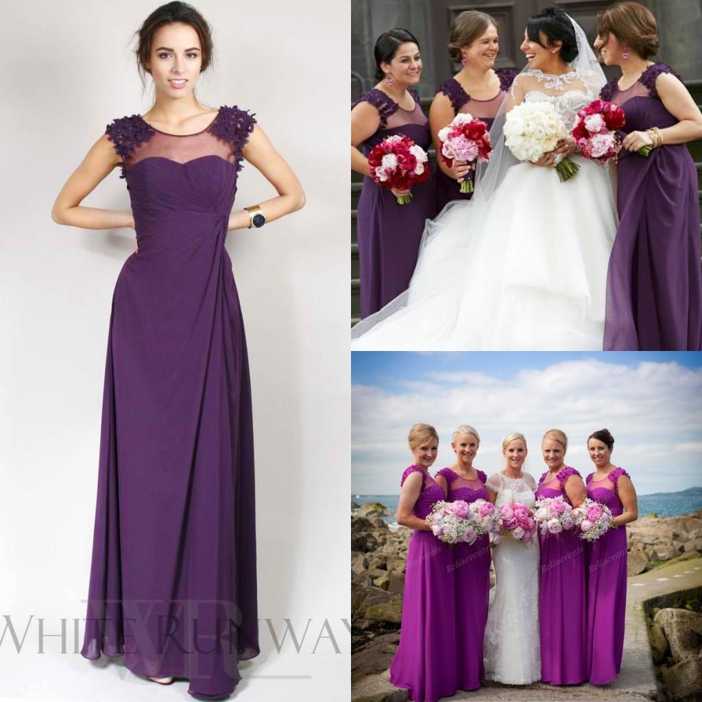 Purplelilac bridesmaid dresses chiffon 2015 sher neck flowers purplelilac bridesmaid dresses chiffon 2015 sher neck flowers long cheap maid of honor dress plus size real wedding guest party gowns lh06 chocolate ombrellifo Image collections