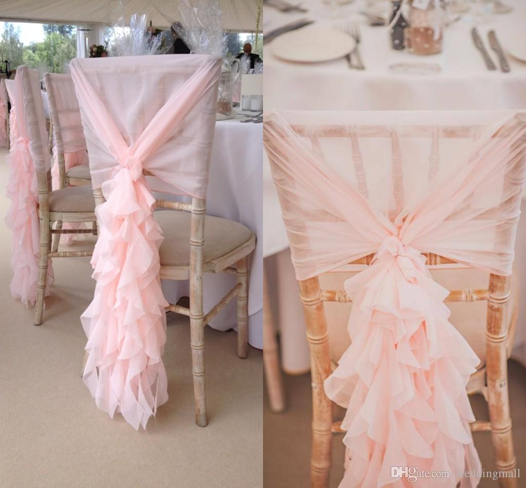 2018 2017 blush pink chair sashes chiffon ruffles chair covers romantic wedding decorations. Black Bedroom Furniture Sets. Home Design Ideas