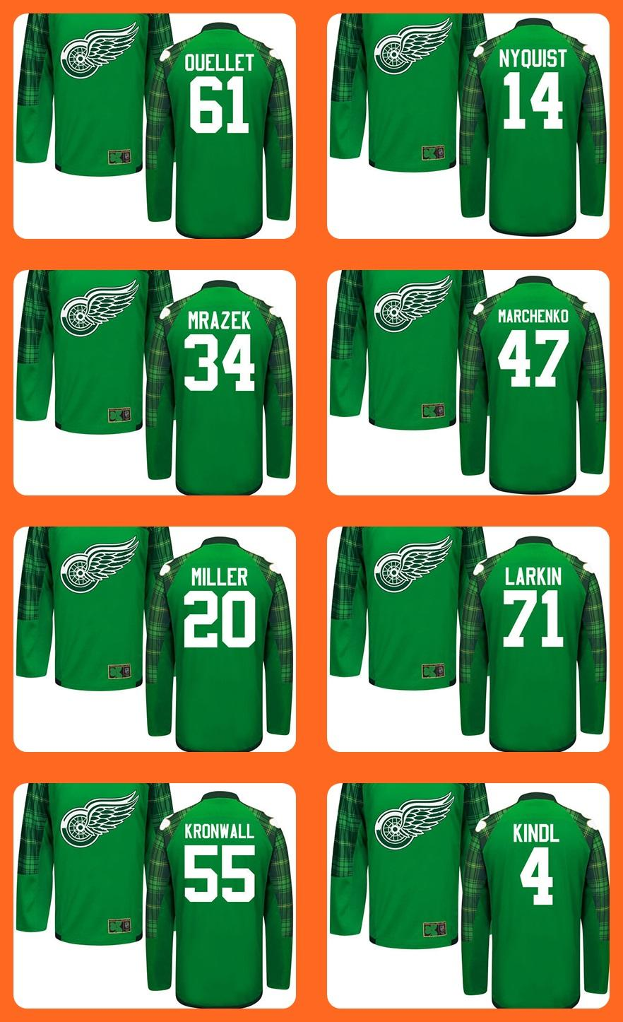 75d3a2a2d23 Mens Green St.Patrick s Day 61 Ouellet 14 Nyquist 34 Mrazek 47 ...