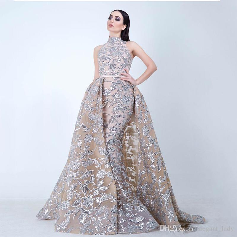 Yousef Aljasmi 2018 Stehkragen Ballkleider mit abnehmbarem Zug Modest Luxury Glänzende Spitze Applique Plus Size Abendkleid Festkleider