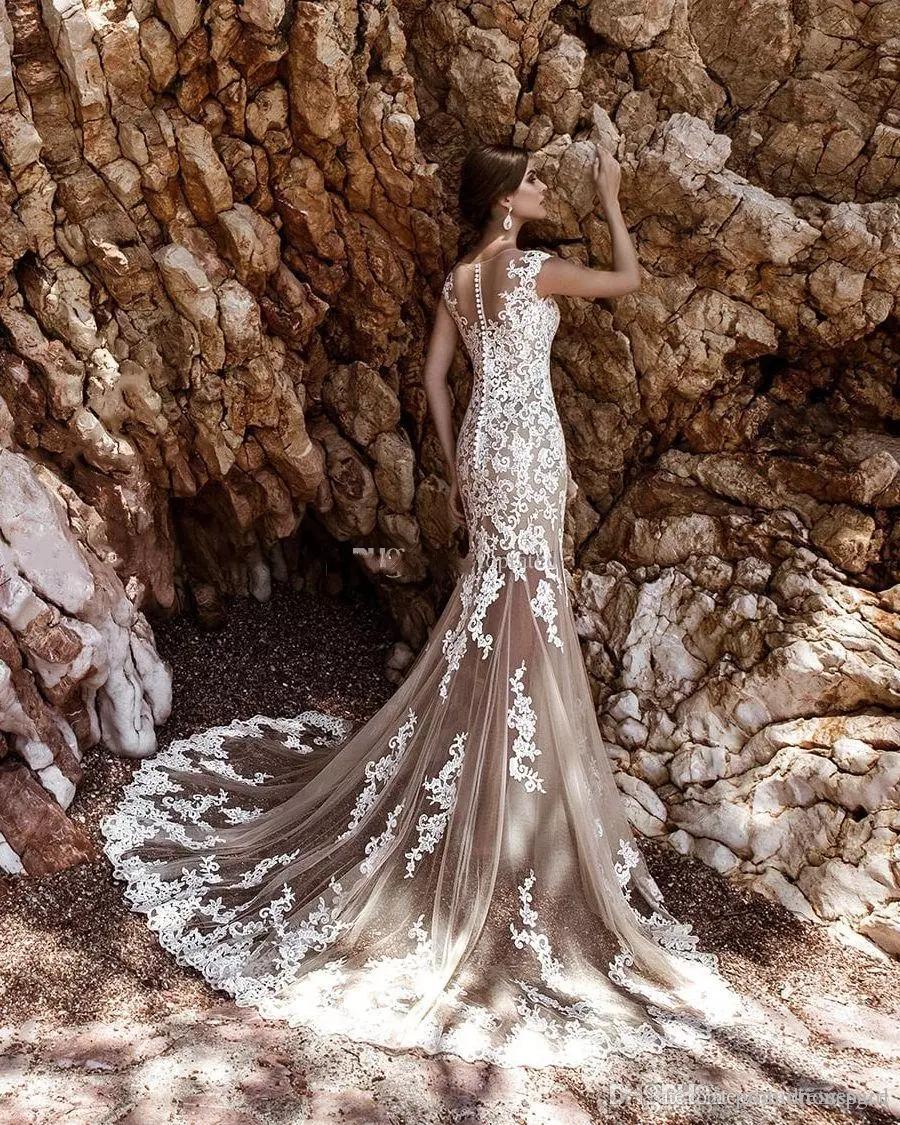 2017 Abiti da sposa della sirena di Champagne con gonna rimovibile Vintage Bianco Pizzo Appliqued Sash Boho Abiti da sposa Bridal Abiti da sposa Vestidos de Noiva