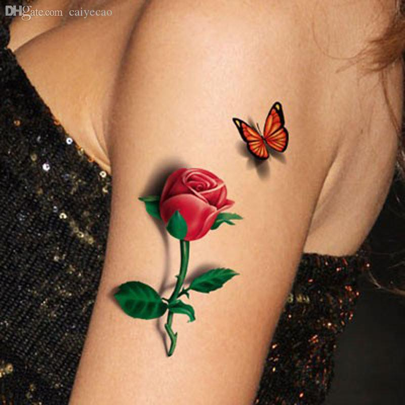 Al Por Mayor Tatoo 3d Rose Tattoo 2015 Flor De La Mariposa Falsa