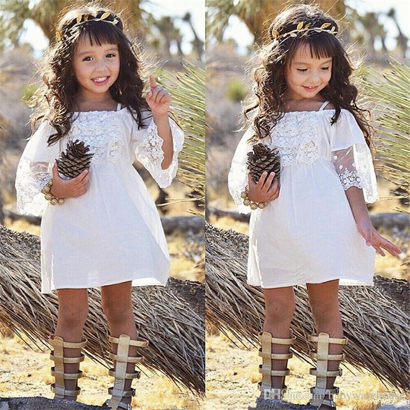 Boutique Ropa para niñas Niños Princesa Vestido Fiesta de bebé Fiesta de bodas Formal Mini Lindo fuera del hombro Vestidos de encaje blanco Ropa para bebés