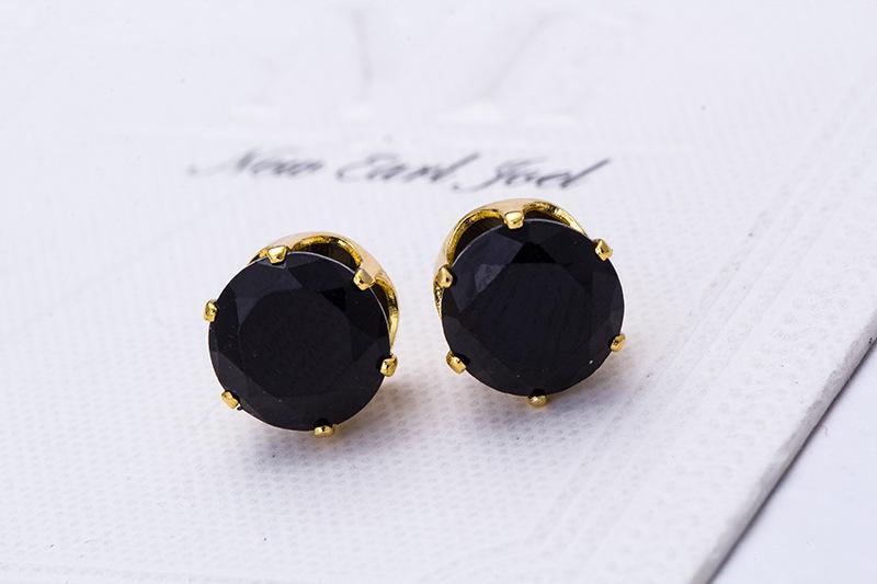 Aretes al por mayor Moda redonda Diseño favorito 18 K Chapado en oro Cristales de caramelo tachonado CZ Pendiente de diamante para mujer
