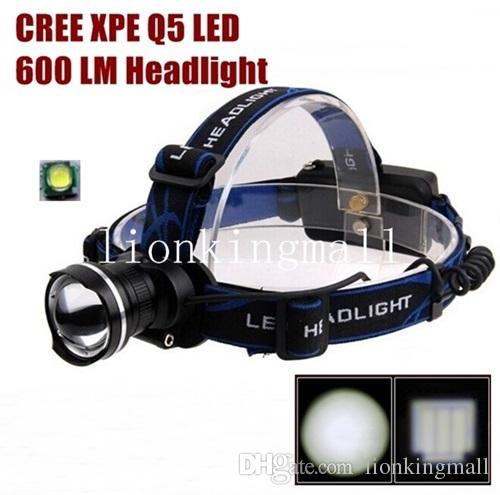 AloneFire HP87 Cree Xpe Q5 LED Zoom led Headlight Headlamp for 1/2x18650 battery -black , Blue,red