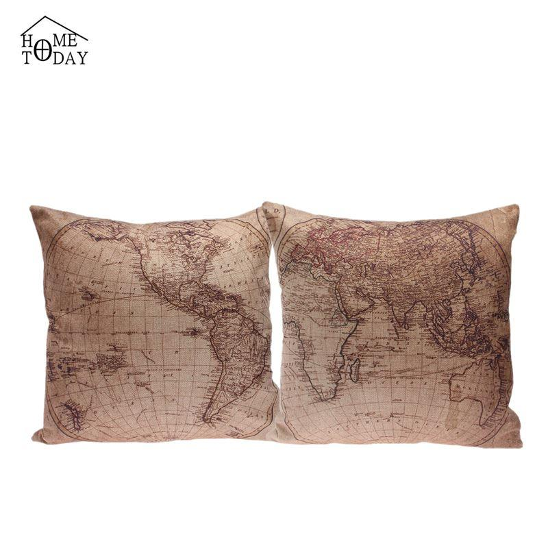 5 Pcs/lot 45cm*45cm Pillow Cases 2015 Decorative World Map Print Pillow Case Eco-Friendly Pillows Cover Free Shipping