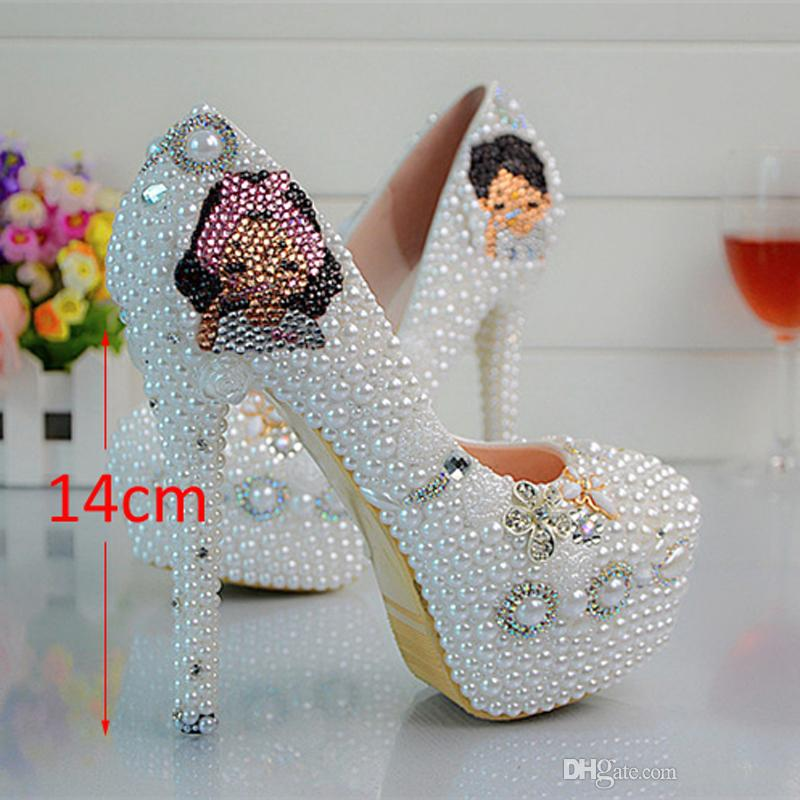 Full Grain Leather Manual Pearl Bride Shoes The Maid of Honor Wedding Dress Shoes High Heels Pearl Fashion wedding shoes