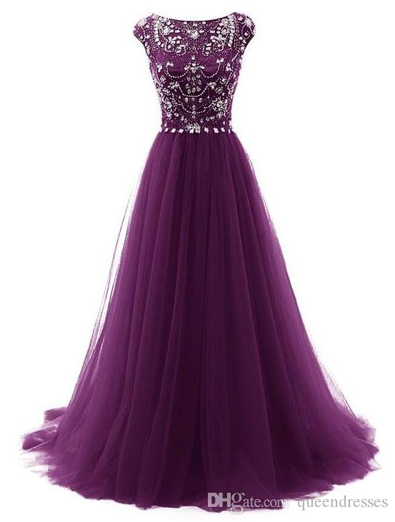 Real Photos Purple Long Prom Dresses Jewel Cap Sleeve A Line Tulle Floor Length Evening Gowns Formal Women Special Occasion Party Dress