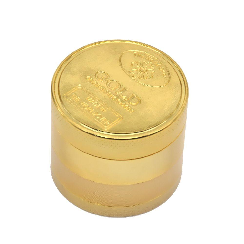 50 MM 3 Schicht / 4 Schicht GOLD Zink-legierung Metall Herb Grinder Spice Tobacco Grinder Gewürzmühle Hand Muller