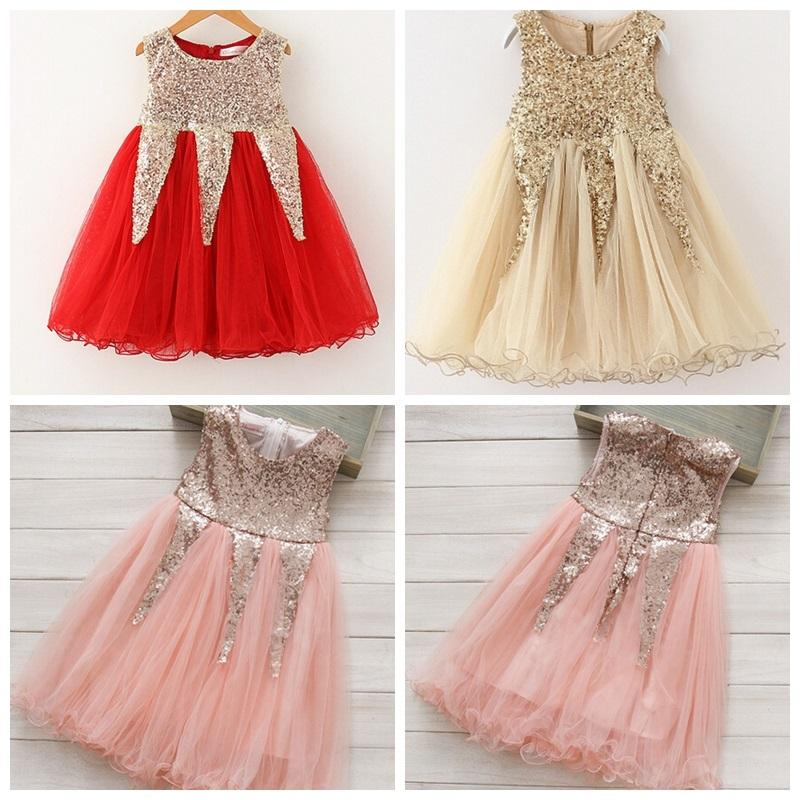 2018 christmas girls dresses 2015 girls sequin dress bling bling dress girl summer party dress girls clothes lace tutu dresses gold red pink from the_one - Girl Christmas Dresses
