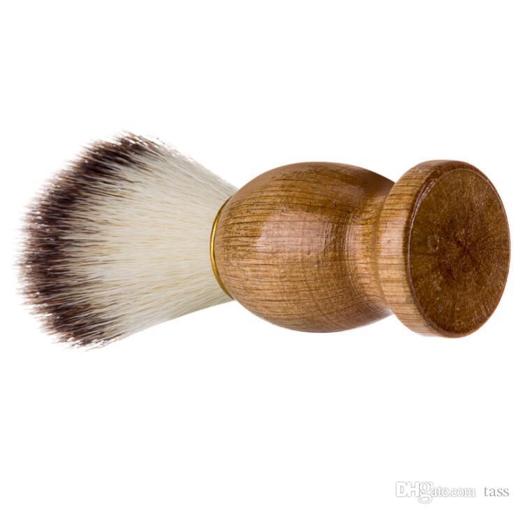 Barber Hair Shaving Razor Brushes Natural Wood Handle Nylon Bristle Beard Brush For Men Best Gift Barber Tool