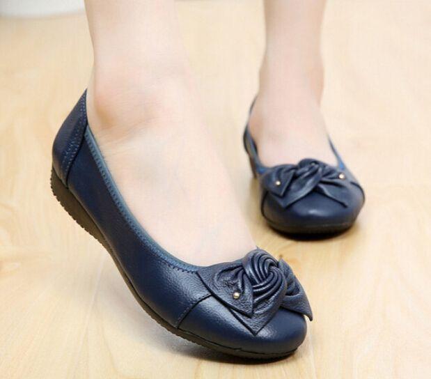 80f865766d942 100% Genuine Leather Women flats,Casual Bowtie Women ballet shoes,Handmade  Slip on Women shoes,Brand Ballerina flats for girls