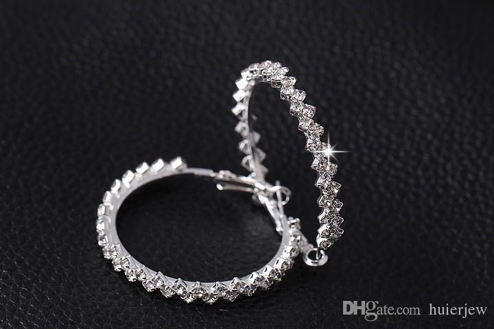 Küpe Hoop Kadınlar Için Moda Takı Elmas Küpe Düğün / Nişan Yuvarlak Damla Küpe Asılı 925 Ayar Gümüş Büyük Hoop Küpe