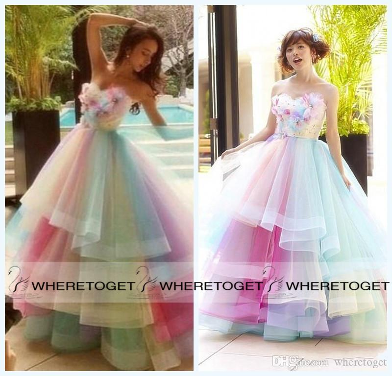 ful Rainbow Prom Dresses A Line Sweetheart Floor Length Long Prom Gowns Sleeveless Tulle 100% Real Photos