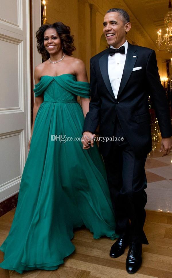 MICHELLE OBAMA vert robes de soirée de célébrité en mousseline de soie une ligne plissée tapis rouge de l'épaule des dessins uniques de longueur complète robe de célébrité