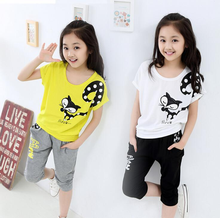 ad433b998 2019 Wholesale New!Summer Children Girls Clothing Set Short Sleeve ...