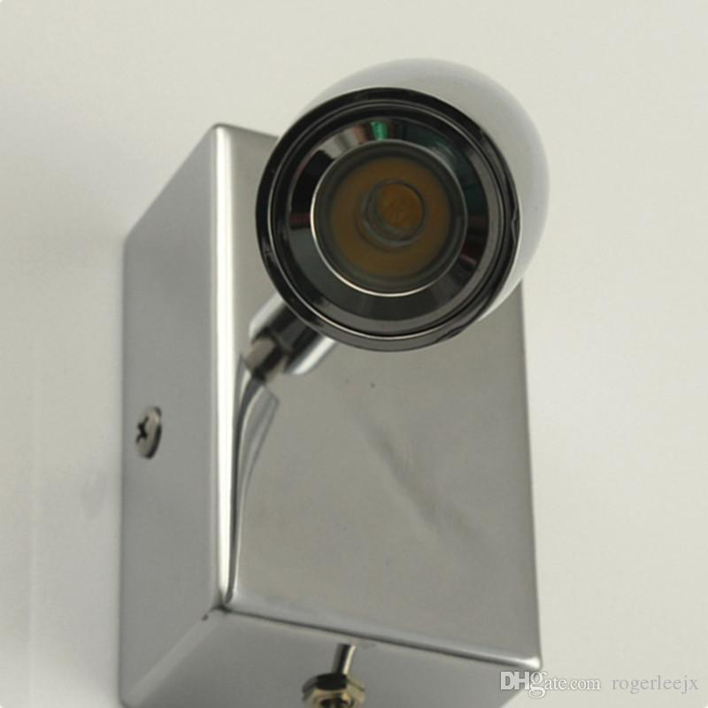 TOPOCH CHROME WALL SCHONCE RICHTINGSLOEREN LAMPEN TAPERSE HOOFD AAN / UIT Schakelaar 3W Integral LED ingebouwde driver voor Hotel RV Boot Retro